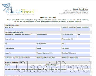 Classic Travel - Trip Application